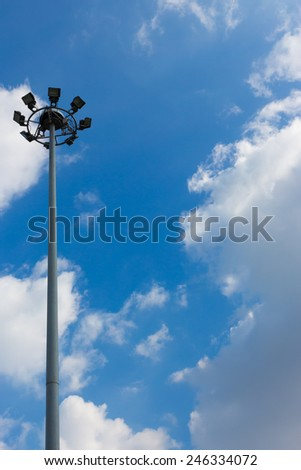 lamppost on blue sky background - stock photo