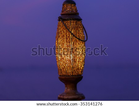 Lamps made from bamboo, Handmade in Thailand,beautiful lamps in nature - stock photo