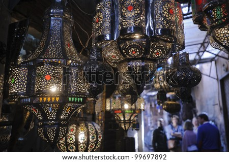 Lamps on display in a Marrakesh souk