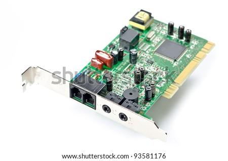 LAN card isolated on white background - stock photo