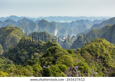 Lan Ha marine bay landscape in Vietnam, view from Cat Ba island - stock photo