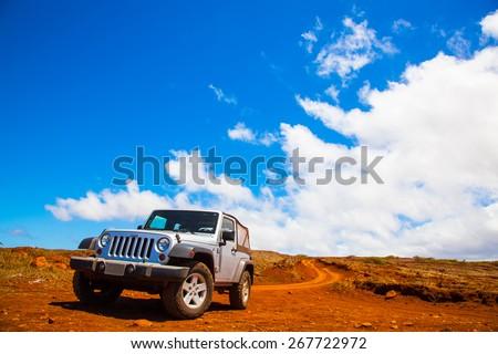 Lanai, HW - September 2, 2013 - Offroading through the Garden of the Gods in a Jeep Wrangler in Lanai.   - stock photo