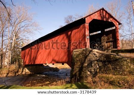 Lancaster County Pennsylvania covered bridge - stock photo