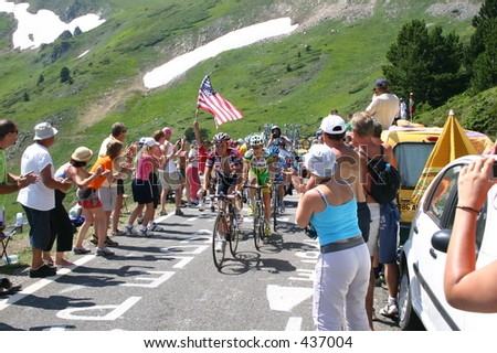 Lance and gang 2005 Tour de France near Axe-les-Thermes - stock photo