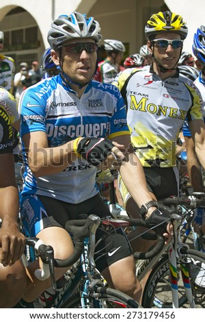 Lance Armstrong competing in the Men's Professional category of the Garrett Lemire Memorial Grand Prix National Racing Circuit (NRC) on April 10, 2005 in Ojai, CA where he finished 15th in the race - stock photo