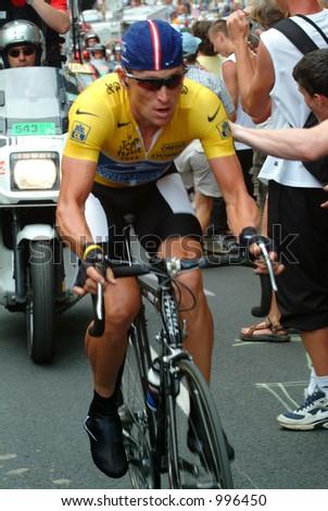 Lance Armstrong on the  Alpe D'Huez Time Trial Tour de France 2004 - stock photo