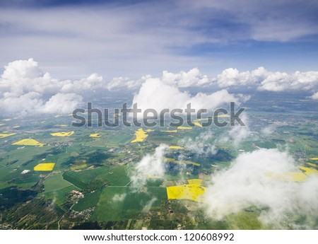 Land of Denmark from plane. The photo shows a landscape from a plane - stock photo