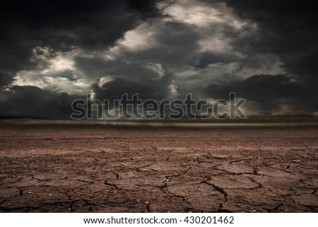 Land to the ground dry cracked with storm. - stock photo