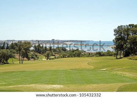 Landcape from a golf course and the atlantic ocean in Portugal