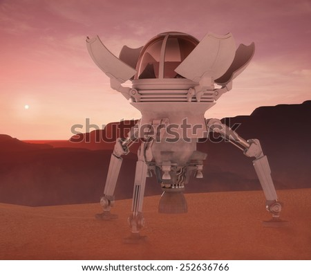 lander on Mars - stock photo