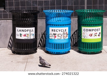 Landfill, Recycle, Compost trash, Disposal Cans, Receptacles - stock photo