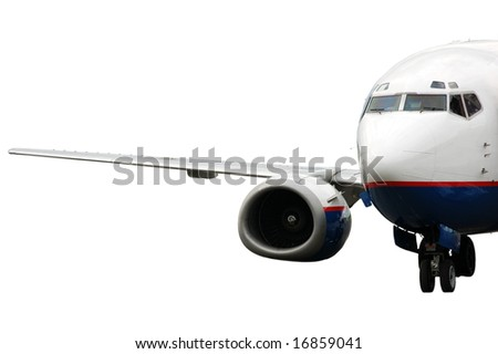 landing airplane isolated on white - stock photo