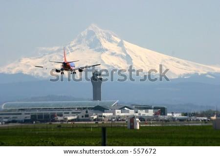 Landing at Portland Oregon - stock photo