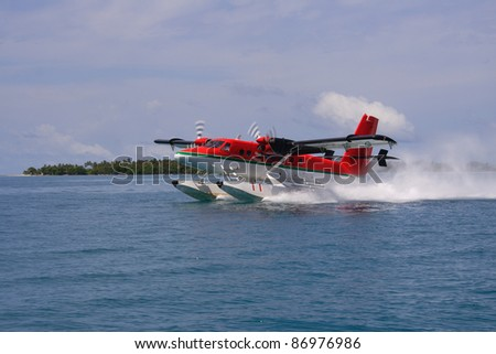 landing hydroplane - Maldive Islands, Asia - stock photo