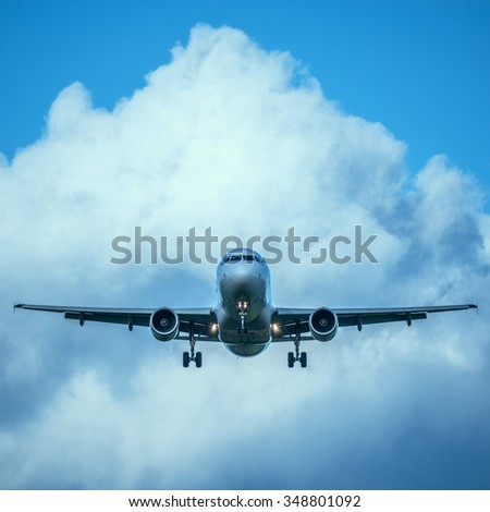 Landing of the passenger plane at day time. - stock photo