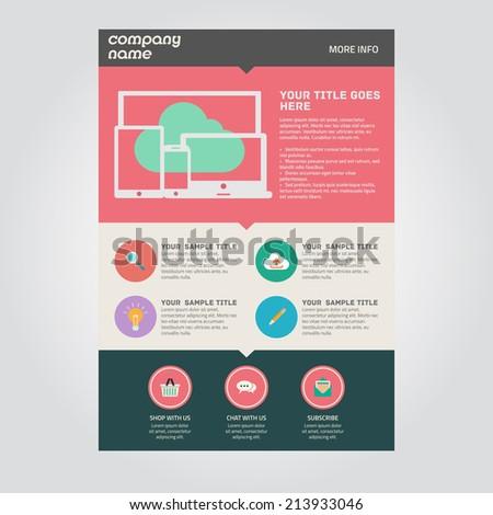 Landing page flat UI design template - stock photo