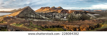 Landmannalaugar colorful mountains. Panorama view, Iceland - stock photo