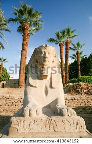 landmark front sculpture of sphinx statue face human-headed with pharaoh Nekhtanebo, in avenue monument between Luxor and Karnak temples, in Thebes ancient city, Egypt, Africa - stock photo