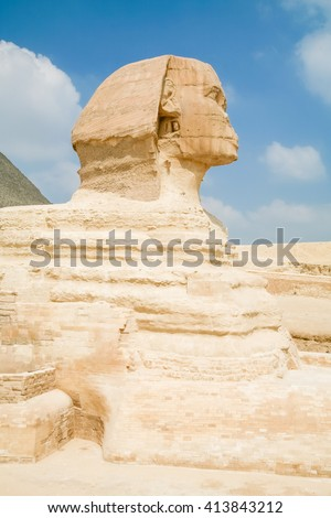 landmark of famous Great Sphinx, from century XXVI Before Christ, public monument in Giza next to Cairo city Egypt, Africa - stock photo