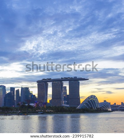 Landmark of Singapore cloudy in sunset  - stock photo