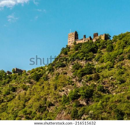 Landmark Rhine castle in the famous Rhine Gorge north of Rudesheim, Germany - stock photo