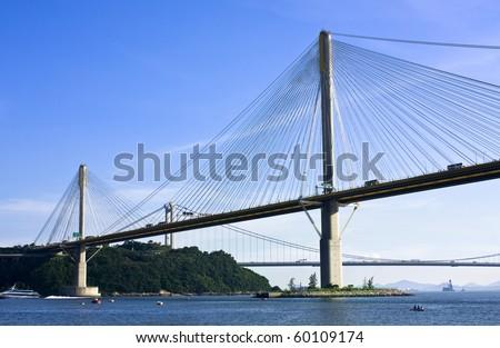 landmark Ting Kau Bridge in Hong Kong - stock photo
