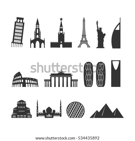 Landmark travel set. silhouette Architectural. Eiffel Tower, Moscow Kremlin. Leaning steeple and Statue of Liberty. Roman Colosseum. mosque Abu Dhabi and Brandenburg Gate. Berne Cathedral