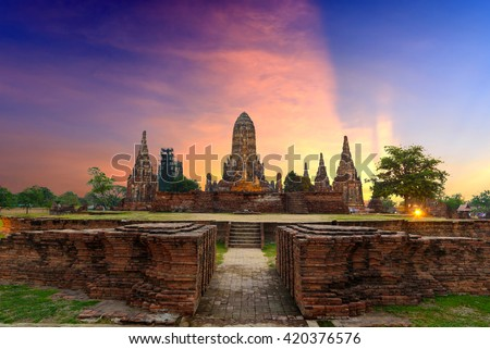 Landmark wat thai, sunset in temple at Wat Chaiwatthanaram in Ayutthaya province Thailand