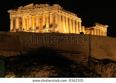 landmarks of athens greece europe a night view of parthenon temple