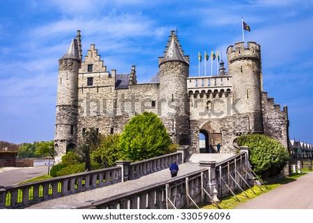 Landmarks of Belgium - Het Steen castle in Antwerpen - stock photo