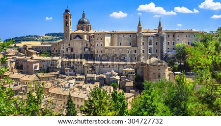 Landmarks of Italy. panoramic view of Urbino,Unesco site. Marche - stock photo