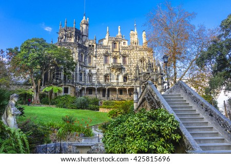 landmarks of Portugal - Palace Quinta da Regaleira  in Sintra - stock photo