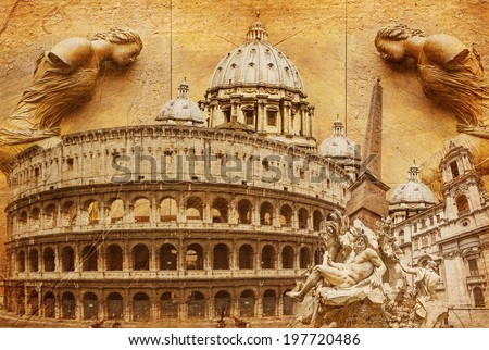 landmarks of Rome - picture in artistic retro style  - stock photo