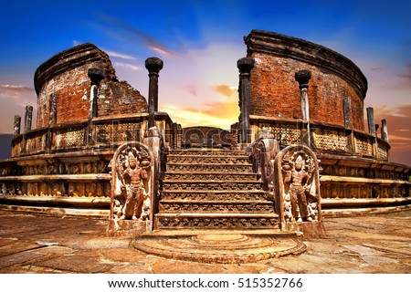 Landmarks of Sri lanka .Ancient temples of Polonnaruwa over sunset