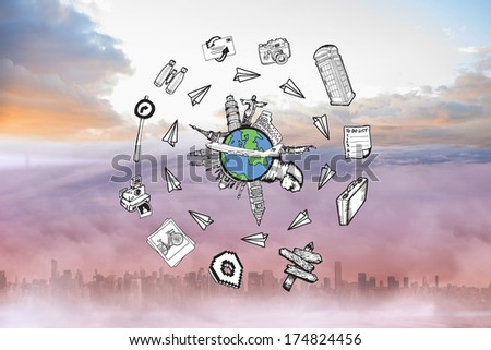 Landmarks of the world doodle against cityscape in the clouds