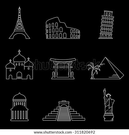 Landmarks white icons on black background - stock photo