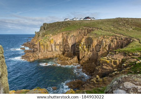 Lands End Cornwall England English tourist attraction the most westerly point of the country and tourist attraction on the Penwith peninsula eight miles from Penzance