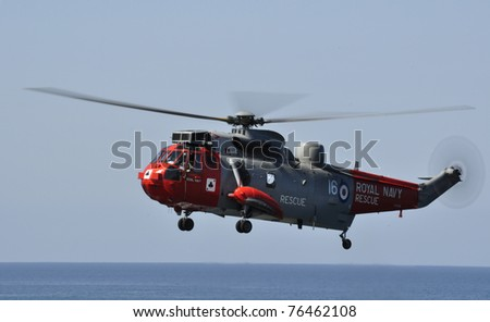 LANDS END, UK - APRIL 29: Royal Navy Seaking practices rescues at Lands End on April 29, 2011 at Lands End, UK - stock photo