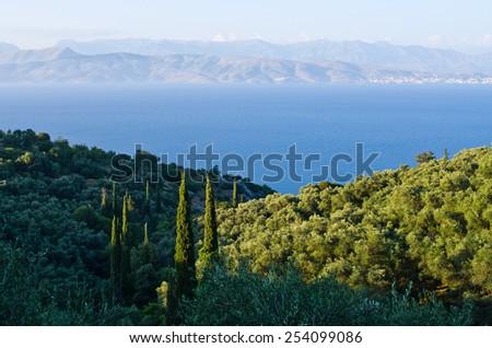 Landsacpe from the mountain - Corfu island, Greece - stock photo
