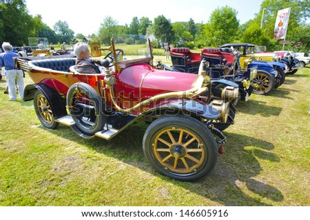 LANDSBERG, GERMANY - JULY 12: Oldtimer rallye for at least 80 years old antique cars with Benz 8/20, built at year 1913, photo taken on July 12, 2013 in Landsberg, Germany - stock photo