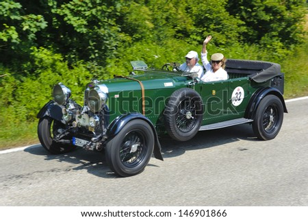 LANDSBERG, GERMANY - JULY 13: Oldtimer rallye for at least 80 years old antique cars with Lagonda open Tourer T5, built at year 1930, photo taken on July 13, 2013 in Landsberg, Germany - stock photo