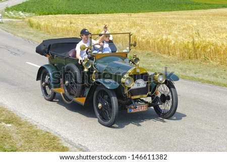 LANDSBERG, GERMANY - JULY 13: Oldtimer rallye for at least 80 years old antique cars withBenz 8/20, built at year 1912, photo taken on July 13, 2013 in Landsberg, Germany - stock photo