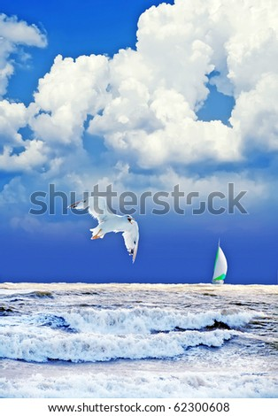 landscape after thunderstorm with gull and yacht - stock photo
