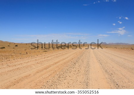 Landscape along a dirt road from Sesriem to Solitaire, Namibia - stock photo