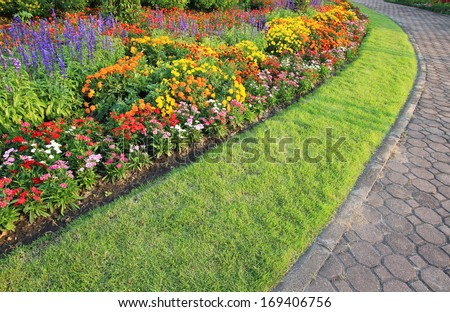 Landscape an path path in the garden.  - stock photo