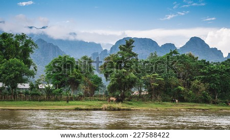 Landscape and mountain in Vang Vieng, Laos. - stock photo