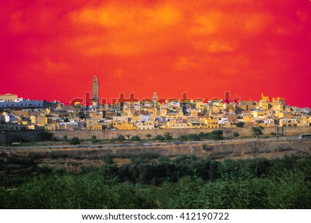 Landscape and the city of Fez in the morning, Morocco - stock photo