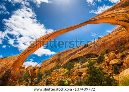 Landscape Arch at Arches Canyon National Park - stock photo