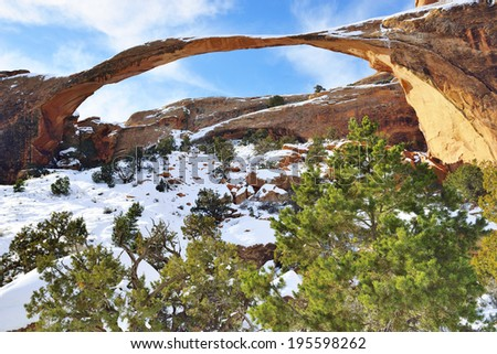 Landscape Arch in Arches National Park, Utah in winter - stock photo