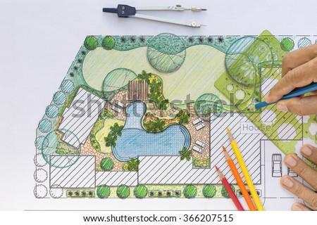 Landscape Architect Design Backyard Plan Villa Stockfoto Lizenzfrei Gorgeous Backyard Plans Designs